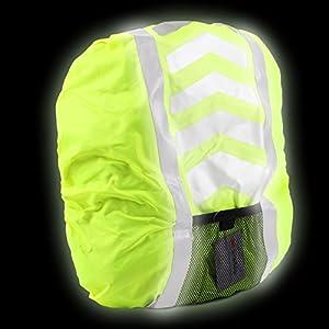 Regenschutz für Rucksäcke und Schulranzen reflektierend Neon Gelb wasserdicht by DF GmbH