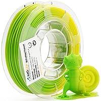 AMOLEN PLA Filamento Stampante 3D, Temperatura Cambiamento di Colore, Verde a Giallo, 1.75mm 200G,+/- 0.03mm Materiali Filamenti per Stampa 3D, include UV Cambiamento di Colore Filamento Campione.