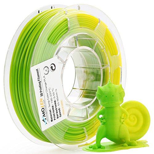 AMOLEN PLA Imprimante 3D Filament, Changement de couleur de température, 1.75mm 200G,+/- 0.03 mm Matériaux d'impression 3D en filament, comprend des échantillons de Filaments.