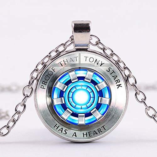 Avengers Iron Man Tony Stark Arc Reactor Halskette 3d Print Glas Anhänger Silber Vergoldet Lange Halskette Marvel Fans Souvenir
