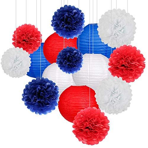 k Papierlaternen und Pom Pom Balls Hängende Dekoration für Hochzeit Geburtstag Baby Shower-Pink/Weiß (Royalblau/Weiß) ()