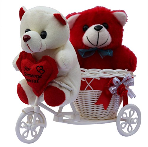 Anishop two cute teddy with a tricycle gift set, Valentine Gift