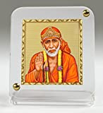 #6: Eknoor Car Dashboard Idol- Goldplated Recta 45/50- Sai Baba ji with japa mala (prayer beads)