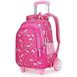 Sac à dos à roulettes unisexe pour enfants, Sac à roulettes pour enfant de sexe féminin, 6-12 ans, valise d'escalade imperméable, dessiné à la main, Roue rose rouge, Sac de voyage à roulettes pour gar