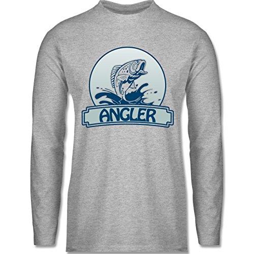 Shirtracer Angeln - Angler Button - Herren Langarmshirt Grau Meliert