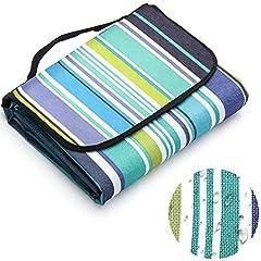 Idea Regalo - LIVEHITOP Coperta da Picnic Spiaggia 200x200 cm Grande XXL, Impermeabile Portatile Pinic Blanket Tappeto per Outdoor Campeggio, 78.74''x78.74'' (Blu Striscia)