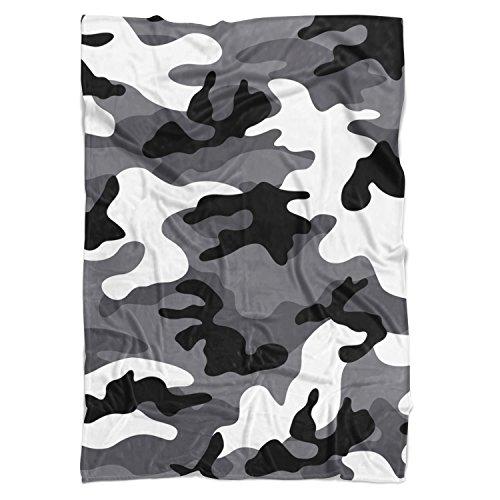 foncé Camouflage Couverture polaire – doux Couvre-lit en fausse fourrure, blanc, Mini Fleece Blanket 35x27in
