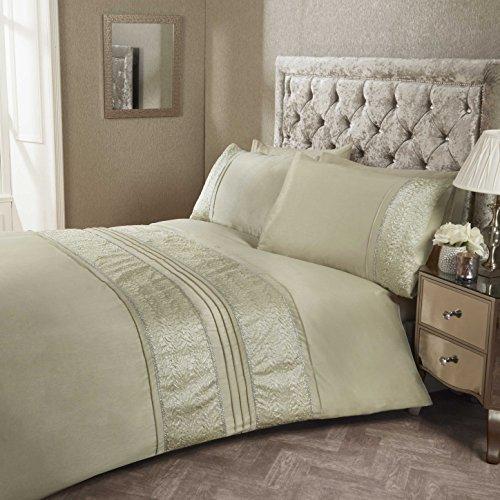 Aurora Bettwäsche (Fancy Bettwäsche Set Luxus Deko Rüsche Bettbezug mit Kissen bestickte Bettwäsche Leinen 30Farben, AURORA GOLD, King Size)