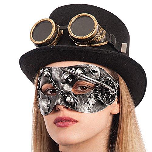 Accesorios steampunk - Máscara de plástico duro plateado