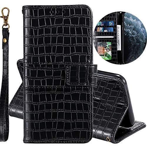 Miagon Krokodil Flip Hülle für Huawei P Smart 2019,Stilvoll PU Leder Wallet Tasche mit Standfunktion Magnetisch Brieftasche Bookstyle Schutzhülle,Schwarz