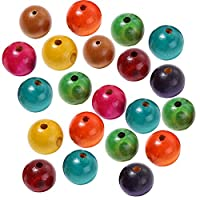 Cupcinu 100PCS DIY Wood Beads Assorted Wooden Beads for Jewellery MakingWooden Beads Made By DIY Jewelry Colored Round Beads Natural Wood Beads for Bracelets Necklace Key Chains and Craft Size:20MM