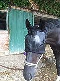 Fliegenschutzmaske für Pferde – hochwirksamer Insektenschutz und UV-Schutz – Fliegenmaske mit Klettverschluss Passend für Warmblut und Pony (Schwarz Größe: M)