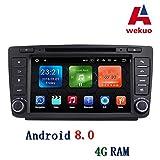 Wekuo Auto-DVD-Player für Skoda Octavia Autoradio, 4 G, RAM, Android 8.0, mit 3G, WiFi, BT, Telefonbuch, USB-Spiegel-Link