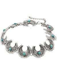 Bold N Elegant Blue Turquiose Boho Bead Silver Plated Choker Necklace For Women And Girls