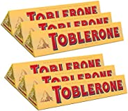 Toblerone of Switzerland Milk Chocolate with Honey and Almond Nougat - 6 Pack Pouch, 6 x 100 g