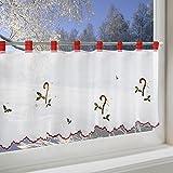 Scheibengardine ZUCKERSTANGE für Küche und Kinderzimmer / weiße Wohnzimmer Bistrogardine / 45x115 cm / Moderne und transparente Gardine zu Weihnachten