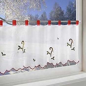 Scheibengardine zuckerstange f r k che und kinderzimmer wei e wohnzimmer - Bistrogardine weihnachten ...