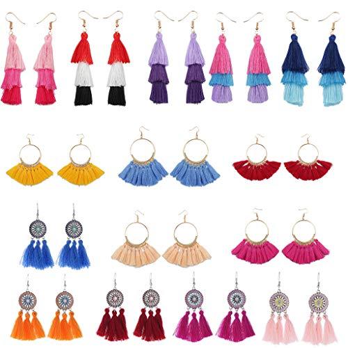 SO-buts 15 Pair Fashion Böhmische Ohrringe Frauen Lange Quaste Fringe Baumeln Ohrringe Schmuck, europäische und amerikanische Mode großen Namen fächerförmigen Quaste Ohrringe (Mehrfarbig) -