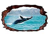 3D Wandtattoo Wal Pottwal Fisch Meer Fenster Bildfoto Wandbild Wandsticker Wandmotiv Wohnzimmer Wand Aufkleber 11E778, Wandbild Größe E:98cmx58cm