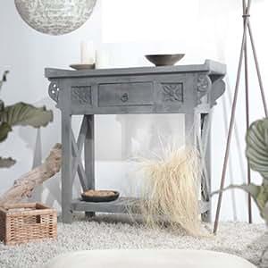 Table Console en bois de manguier Buffet en bois sculpté à la main Fini vieilli Gris