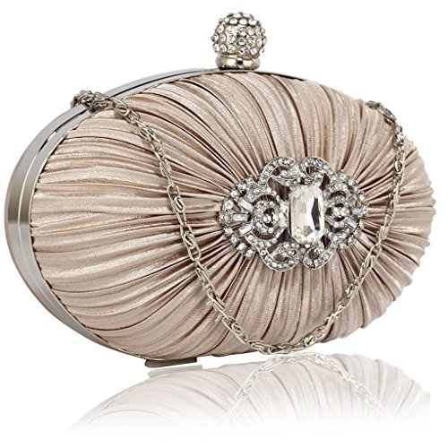 Leahward® Ladies Underarm Bag Da Donna Ladies Essener Sera Hard Case Crystal Satin Cross Bag Borsa Di Alta Qualità Rouched Cwe0092 Cwe0093 Cwe00315 Cwe0093-nude