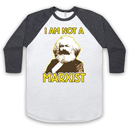 Karl Marx I Am Not A Marxist 3/4 Hulse Retro Baseball T-Shirt Weis & Dunkelgrau