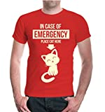 T-Shirt In case of emergency place cat here-L-red-beige