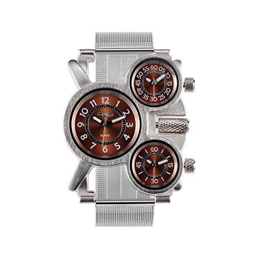 Qiy Qy Herren-Armbanduhr, 3 Zeitzonen, lässiges Design, Quarzuhrwerk, hochwertiges Lederband, braun