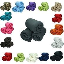 Betz 3 Stück Fleecedecke Kuscheldecke in Größe 130x170 cm Qualität 220 g/m² verschiedene Farben Farbe petrol