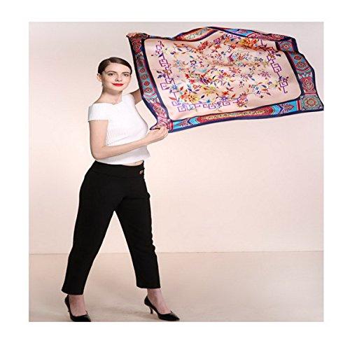 Ahatech Echarpe Carré en Soie Imprimé Elegant Doux Foulard Châle pour Femme Color 1