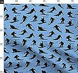 Ski, Skifahren, Blau Und Schwarz Stoffe - Individuell