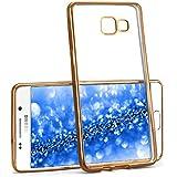 Case Chrome pour Samsung Galaxy A3 (2016) | Etui en silicone transparent avec effet métallique | Thin Sac de protection cellulaire OneFlow | Backcover en Gold