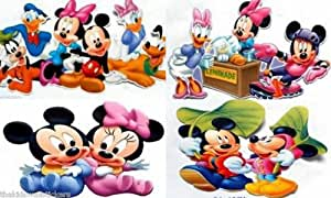 "4 x Disney Mickey Mouse Minnie Pluto 15"" Clubhouse Wall Sticker Baby Kids Nursery Home/Room Decors Mural Art Decals Adhesive Decorative"
