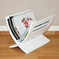 Homestyle4u 964 Mailand Zeitungsständer Magazinhalter Zeitschriftenablage aus Holz B 30 cm x H 29 cm x T 36 cm in Weiß lackiert