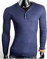 Herren Hoodie Pullover Feinstrick Pullover mit V-Ausschnitt und Knöpfe