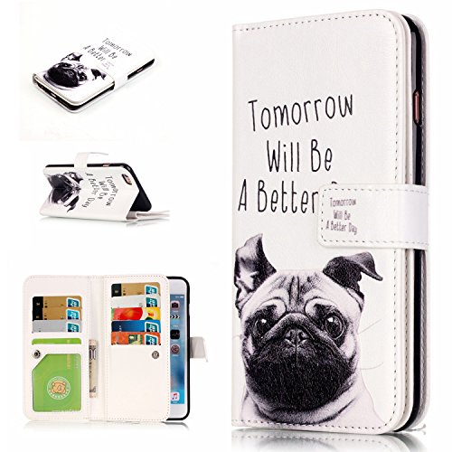 Housse iPhone 6S Plus, SpiritSun Etui en PU Cuir Portefeuille Coque pour Apple iPhone 6 6S Plus (5.5 pouces) Mode Modèle Double Slots de Cartes Couverture avec Fonction Support Stand - Plume et Oiseau Tomorrow will be a better day