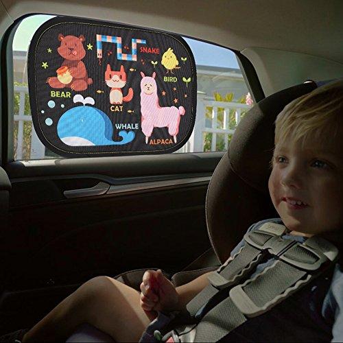 IntiPal Selbsthaftende Sonnenblenden Sonnenschutz Auto Baby Kinder 2er Pack (Tiere)