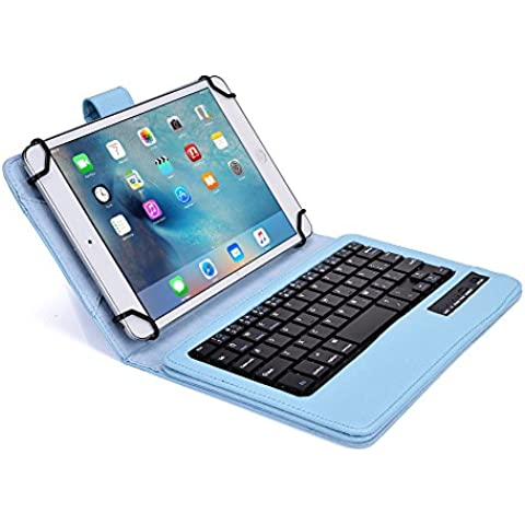 Funda tipo Folio Cooper Cases (TM) Infinite Executive para tablet de Samsung Galaxy Tab 3 Lite 7.0 (T110) / 3G (T111) con teclado Bluetooth en Azul claro (soporte incorporado, teclado QWERTY extraíble, batería recargable)