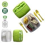 Porta Pranzo 3 scomparti Con Posate Adatto Congelatore Microonde e lavabile in lavastoviglie 100% privo di BPA - scuola | ufficio | lavoro | il tempo libero verde