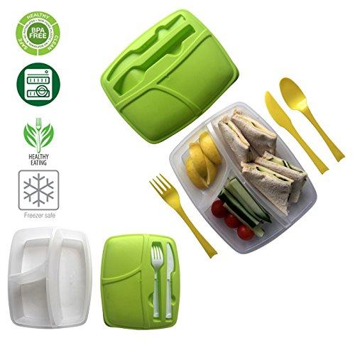 Lunch Box Keepfresh BPA-Frei 3er Brotdose und Besteck Set mit Trennwand Wiederverwendbar Salatschüssel Spülmaschinenfest Mikrowellengeeignet fur Erwachsenen und Kinder (Pink)