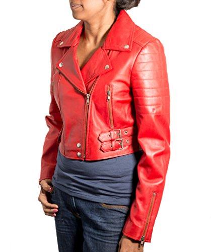 Veste de vŽlo en cuir vŽritable pour femme. Disponible en cuir clair et cuir ˆ la crocodile. Rouge