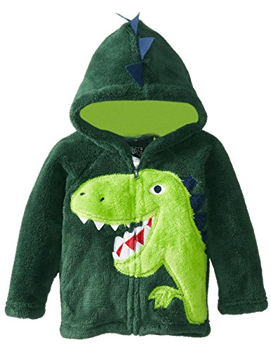 Jungen Fleecejacke Little Hand Kapuzenpullover Kinder Winddicht Dinosaurier-Stickere, Grün, EU104(3-4 Jahre)=Tag 100