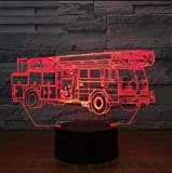 Fushoulu Farbe Des Geführten Nachtlichts Der Kran-Lkw-3D Lampe 7 Für Kinder Berühren Usb-Tabelle Babyschlafenachtlichtraum-Lampen-Tropfen-Schiff