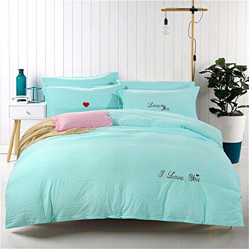 Bettwäsche vier-Stück Bettbezug Kissenbezug 1,8 m (6 Zoll) Bett Stickerei gewaschen Baumwolle Frill, Aqua blau (Aqua-bett-satz)