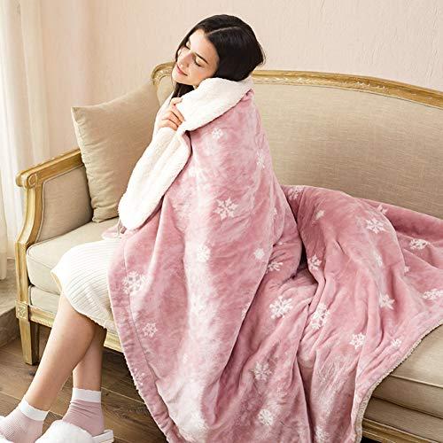 ASDFGH Flanell Warm-up-Decke Heizdecke, Weiches Gemütlich Knie-Decke Wärmedecke elektrisch Einzelne heizdecken-Rosa 90x165cm(35x65inch) -