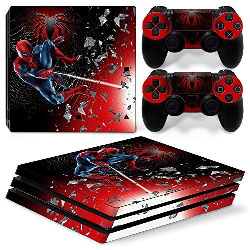 Preisvergleich Produktbild 46 North Design Playstation 4 PS4 Pro Folie Skin Sticker Konsole Spider SuperHero aus Vinyl-Folie Aufkleber Und 2 x Controller folie