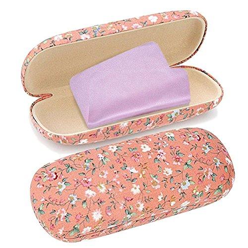 Floral Brillenetui, Brillenbox Jacinth mit rosa Putztuch für Mädchen Damen Frauen(Jacinth)