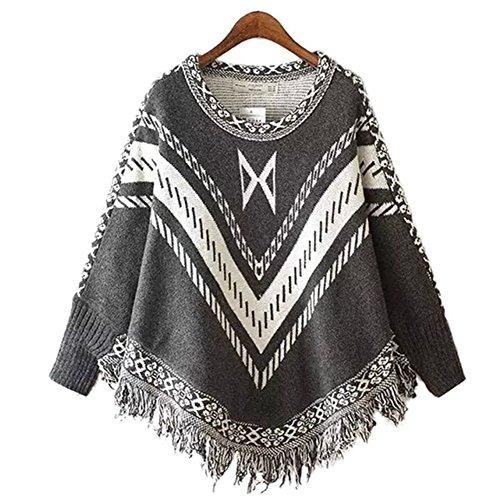 YOUJIA Femme Vintage Élégant Tricot Chandail Pullover Poncho Capes avec glands Sweater Top Gris