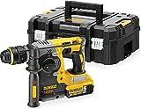 DeWalt SDS-plus XR Akku-Kombihammer (18V, 5 Ah, 24mm, bürstenlos, 13mm-Schnellspann-Bohrfutter, für Beton, Ziegel und Mauerwerk von 4 - 24 mm, inkl. 2x Akkus, System-Schnellladegerät, Tstak Box II und Zubehör), DCH274P2T