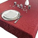 PROHEIM Premium Tischdecke 150 x 250 cm Elegante Tafeldecke mit edlen Ornamenten Tafeltuch mit Rankenmuster schmal gesäumtes Tischtuch, Farbe:Bordeaux